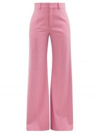 CHLOÉ Pink high-rise wool-blend flared-leg trousers   womens 70s vintage inspired flares   women's retro pants