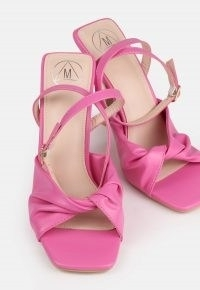 MISSGUIDED pink knot detail strappy heeled sandals ~ faux leather square-toe ankle strap high heels