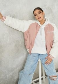 MISSGUIDED pink new york varsity bomber jacket ~ womens American style casual jackets ~ women's USA college style outerwear