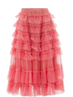 MOLLY GODDARD Nuala pink gathered-tulle midi skirt ~ sheer overlay frill trimmed skirts - flipped