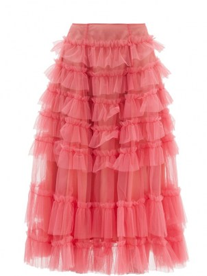 MOLLY GODDARD Nuala pink gathered-tulle midi skirt ~ sheer overlay frill trimmed skirts