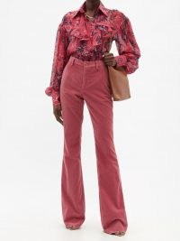 ETRO Oakland pink cotton-corduroy flared-leg trousers ~ women's high waist retro cords ~ womens 70s vintage inspired pants