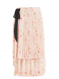 SIMONE ROCHA Pleated pink floral-print midi skirt | romance in spired fashion | feminine layered skirts