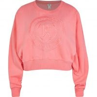 RIVER ISLAND Pink RI embroidered cropped sweatshirt / crop hem logo sweatshirts / women's slogan sweat tops
