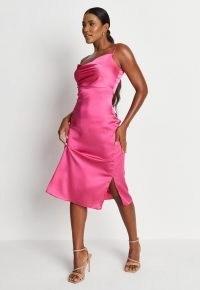 MISSGUIDED pink satin cami cowl slip midaxi dress ~ skinny strap dresses