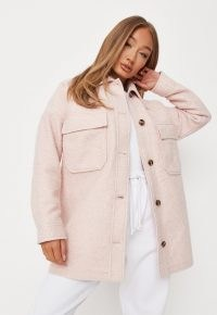 MISSGUIDED pink textured oversized shacket ~ pocket detail shackets ~ womens shirt jackets