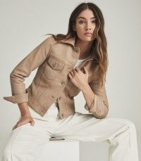 REISS PIPER LEATHER TRUCKER JACKET NEUTRAL ~ beautiful luxe jackets