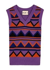 PLAN C Purple intarsia knitted tank – cotton knit tanks – womens vest tops
