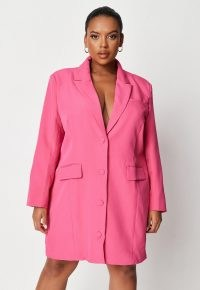 MISSGUIDED plus size pink oversized button front blazer dress ~ jacket style dresses ~ going out fashion