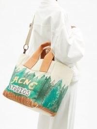 ACNE STUDIOS Alisse logo-print cotton-canvas tote bag / graphic designer logo shopper bags