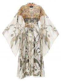 COMMON HOURS Gardenia-print cotton-blend maxi robe dress | kimono style wide statement sleeve robes