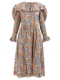 HORROR VACUI Gertrude floral-print cotton midi dress | vintage style puff sleeve oversized collar dresses