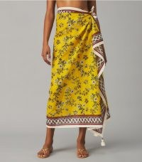 Tory Burch PRINTED PAREO Lyonnaise Floral – yellow floral pareos – luxe sarongs – chic pool cover ups