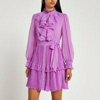RIVER ISLAND Purple ruffled mini dress ~ romantic ruffle detail dresses ~ romance inspired fashion