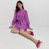 RIVER ISLAND Purple ruffled mini dress ~ front ruffle bib tie waist dresses ~ sheer long sleeves ~ romantic frill trimmed fashion