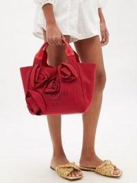 VALENTINO GARAVANI Atelier red floral-appliqué canvas tote bag | women's designer shopper bags | chic shoppers | womens top handle grab bags