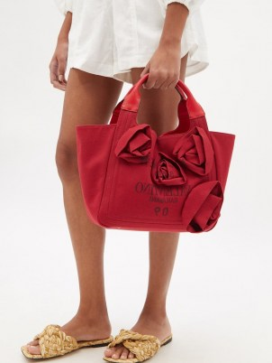 VALENTINO GARAVANI Atelier red floral-appliqué canvas tote bag   women's designer shopper bags   chic shoppers   womens top handle grab bags - flipped