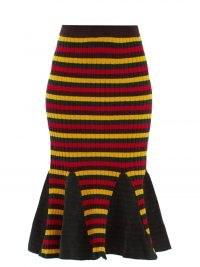 WALES BONNER Brixton striped cotton-knit skirt | fit and flare fishtail hem skirts