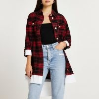 RIVER ISLAND Red check print shirt dress / casual checked dresses / women's longline shackets