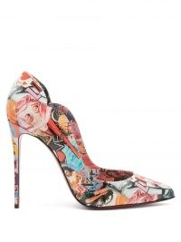 CHRISTIAN LOUBOUTIN Hot Chick 100 printed-leather pumps – high stiletto heel courts – scalloped edge court shoes