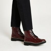 RIVER ISLAND Red Lace Up Chunky Boot / womens snake embossed ankle boots / women's casual autumn footwear
