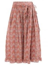 HORROR VACUI Lina Aubrey Forest-print cotton-poplin midi skirt | ruffle hem skirts