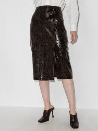 Rejina Pyo Delores brown faux-leather skirt | high-shine coated wrap design skirts