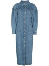 REMAIN Edinisa puff-sleeves denim dress ~ blue volume sleeve shirt dresses