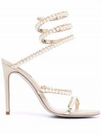 René Caovilla Cleo pearl-embellished sandals / glamorous ankle wrap occasion heels