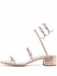 René Caovilla Cleo rhinestone-embellished leather sandals in rose-pink / shimmering strappy block heel sandal