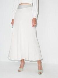 Rixo Joan silk crepe skirt – luxe white floaty bias cut skirts