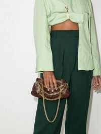 Rosantica Glam chain-embellished brown leather shoulder bag | small luxe handbags | glamorous clutch