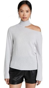RtA Cashmere Langley Top – luxe cut out detail knitwear – high mock neck cutout jumpers