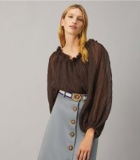 TORY BURCH RUFFLE NECK TOP DEEP CHOCOLATE ~ sheer dark brown balloon sleeve tops ~ bohemian fashion