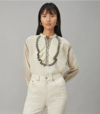 TORY BURCH RUFFLE-FRONT BLOUSE in French Cream ~ ruffled blouses