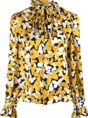 Saint Laurent butterfly print silk shirt – womens yellow ruffle collar shirts – feminine ruffled tie neck detail blouses - flipped