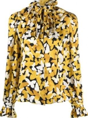 Saint Laurent butterfly print silk shirt – womens yellow ruffle collar shirts – feminine ruffled tie neck detail blouses