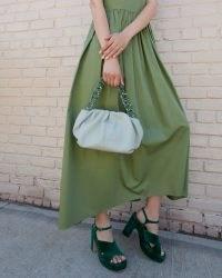 Loeffler Randall Salem Sage Mini Clutch | light green tortoiseshell resin strap bag | vintage inspired handbags | luxe top handle bags