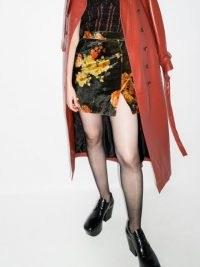 SAMUEL GUÌ YANG floral-print high-rise miniskirt | split hem mini skirts