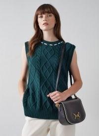 L.K. BENNETT SANDRA BLACK LEATHER SNAFFLE-DETAIL BAG ~ chic shoulder bags ~ stylish top handle handbags ~ front flap closure