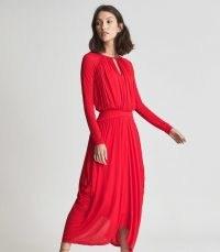 REISS SAVANNAH OCCASION MIDI DRESS RED ~ draped detail open back event dresses