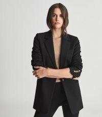 REISS SAXON OVERSIZED BLAZER BLACK ~ women's single breasted blazers ~ womens essential jackets ~ classic wardrobe staples
