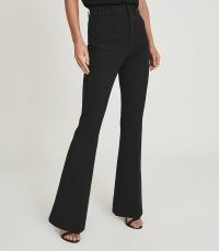 REISS SIAN HIGH RISE SKINNY FLARED TROUSERS BLACK ~ womens wardrobe essentials