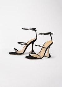 TONY BIANCO Skye Black Suede 10.5cm Heels – triple diamante strap flared high heel sandals