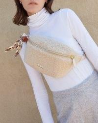 Loeffler Randall Sophie Cream Belt Bag | faux shearling bum bags | fluffy crossbody | textured fanny packs