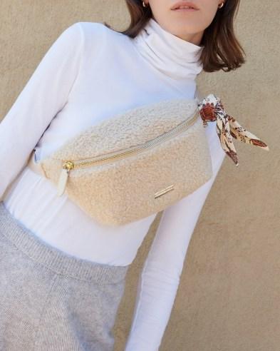 Loeffler Randall Sophie Cream Belt Bag   faux shearling bum bags   fluffy crossbody   textured fanny packs - flipped
