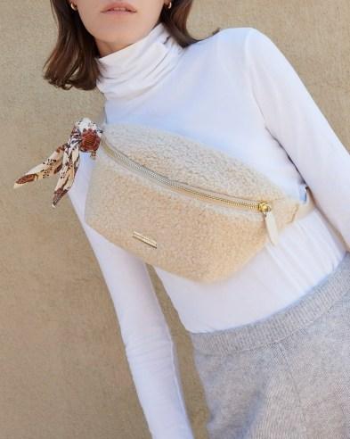 Loeffler Randall Sophie Cream Belt Bag   faux shearling bum bags   fluffy crossbody   textured fanny packs