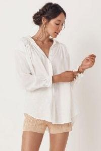 SPELL BASIC LINEN BLOUSE White / feminine gathered detail drop shoulder blouses / women's summer shirts