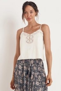 SPELL BASIC LINEN CAMI White / delicate lace detail camisole / feminine camisoles / strappy tops