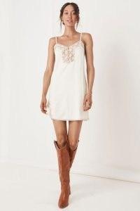 SPELL BASIC LINEN SLIP DRESS White / floral lace detail cami dresses / skinny strap fashion